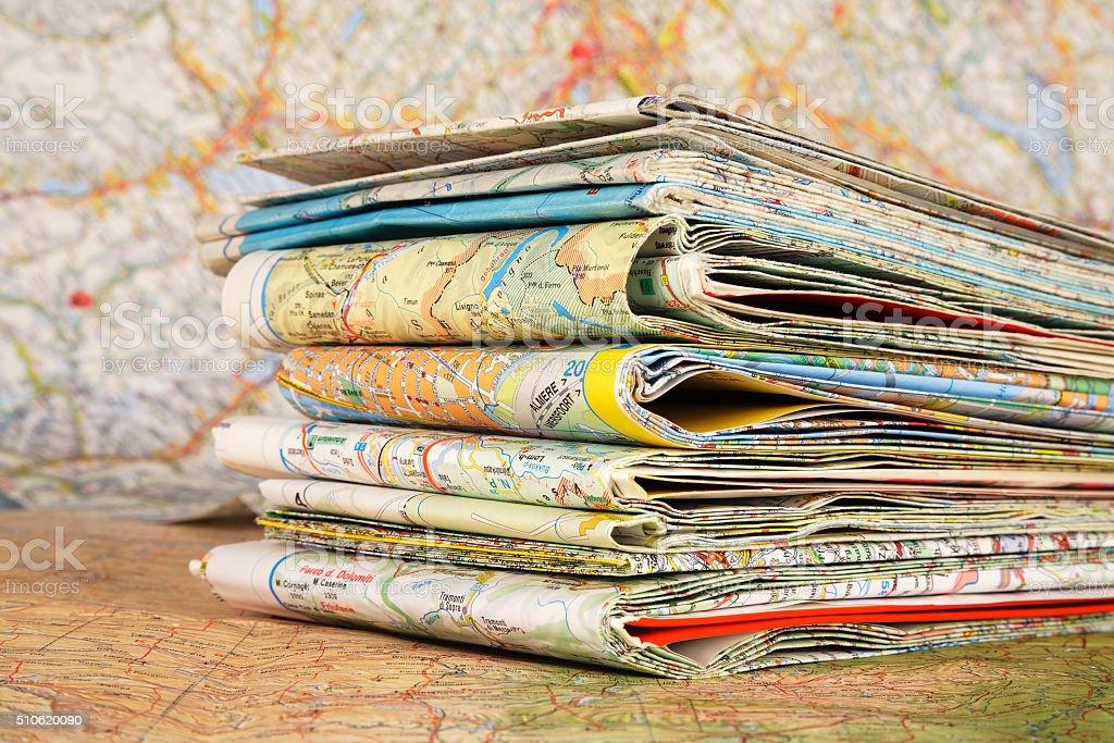 Various travel maps stock photo
