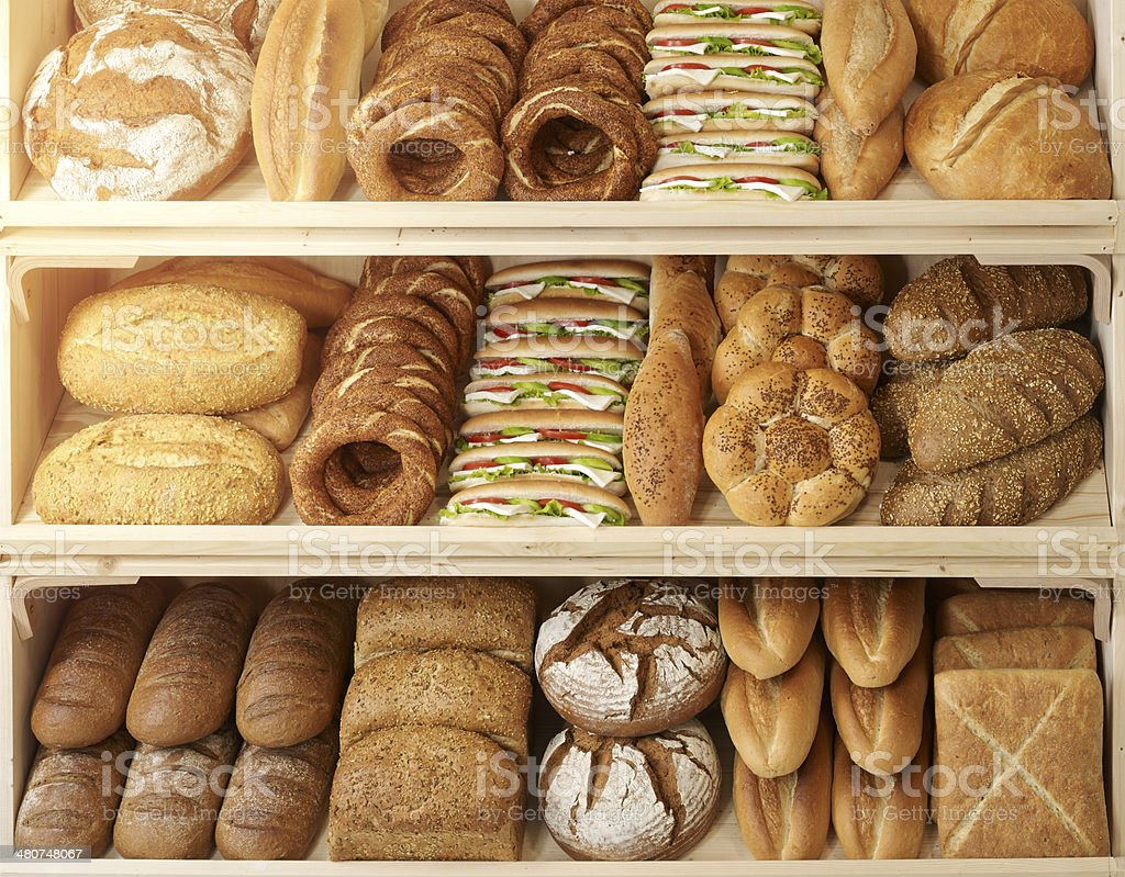 Various type of bread and simit  in shelves turkish stock photo