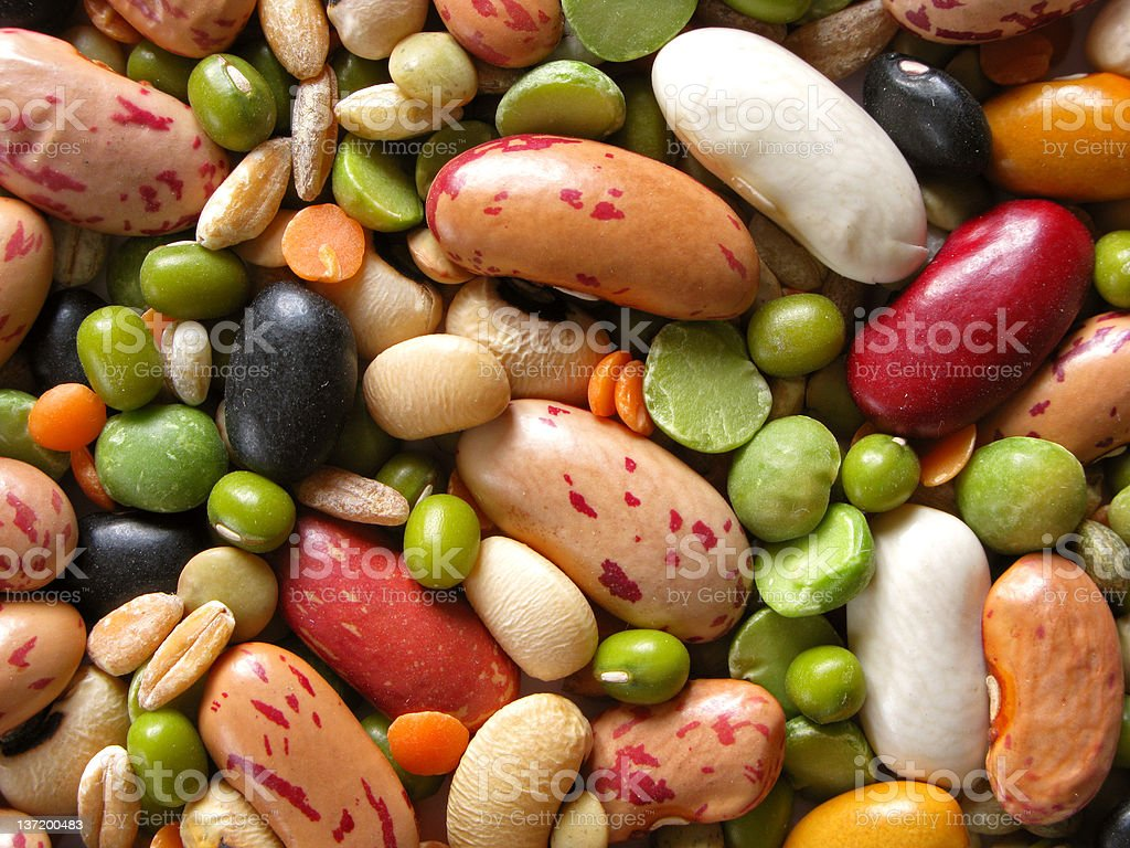 Various type of legumes in pile stock photo