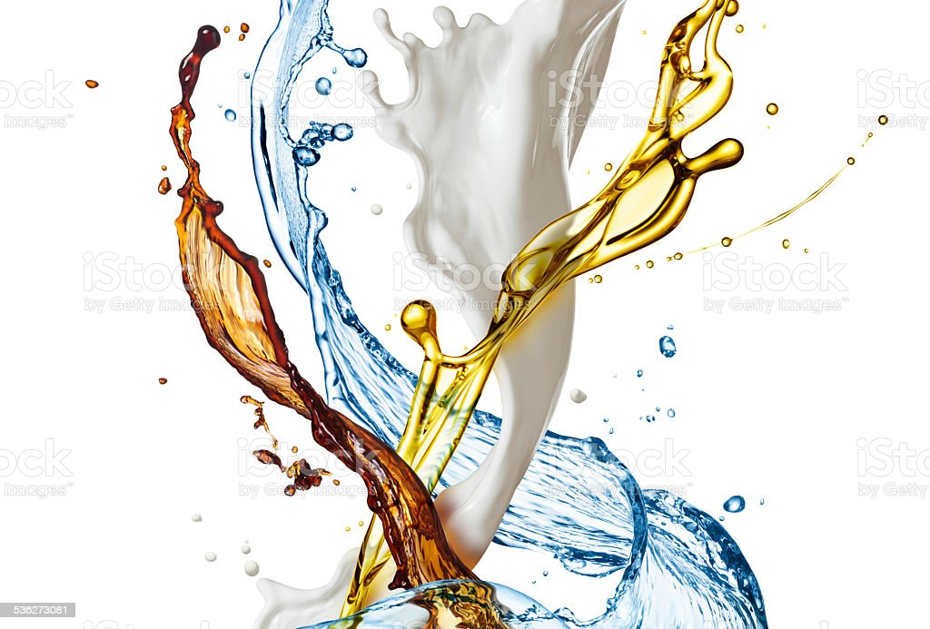various type of splashes stock photo