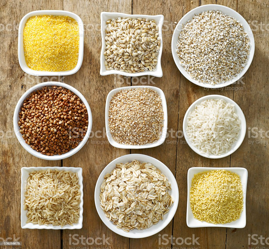various types of cereal grains stock photo