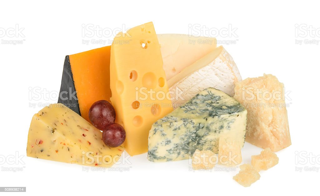Various types of cheese isolated on white stock photo