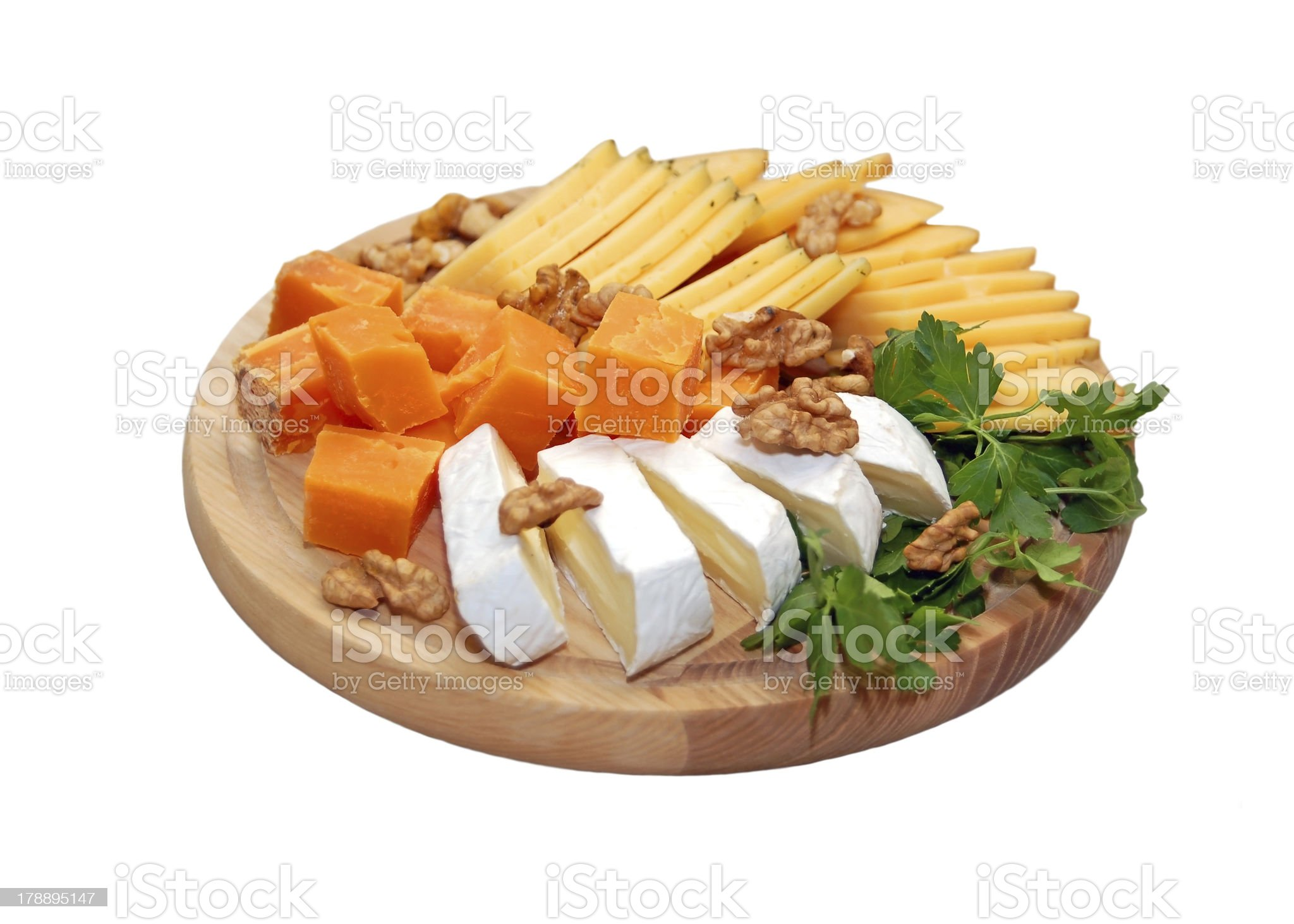 Various types of cheese on white background royalty-free stock photo