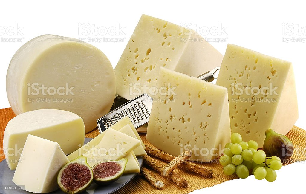 Various types of cheese(clipping path) royalty-free stock photo