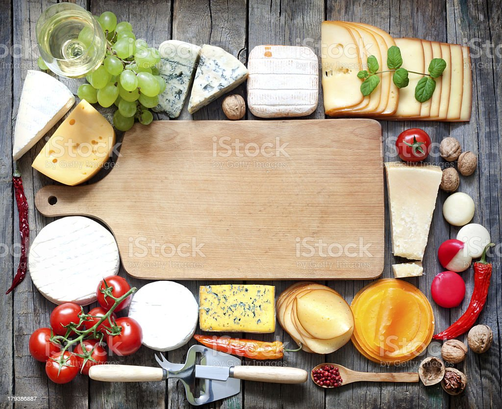 Various types of cheese with empty space stock photo
