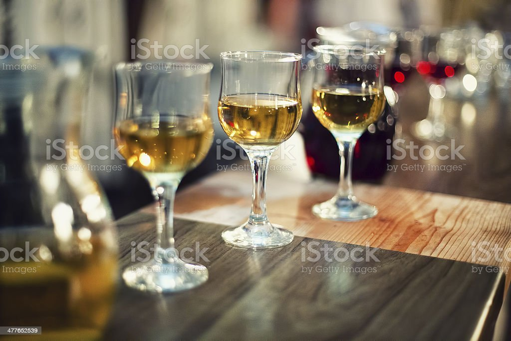 various types of exquisite wine in glasses at cocktail party stock photo