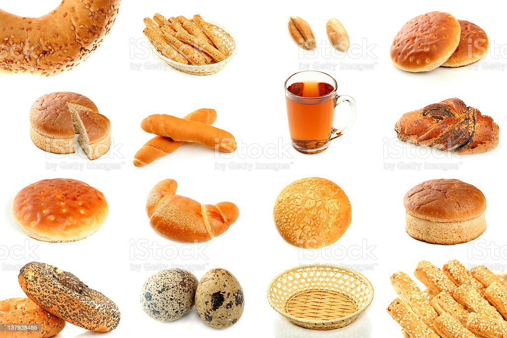 Various types of freshly baked bread and ingredients royalty-free stock photo