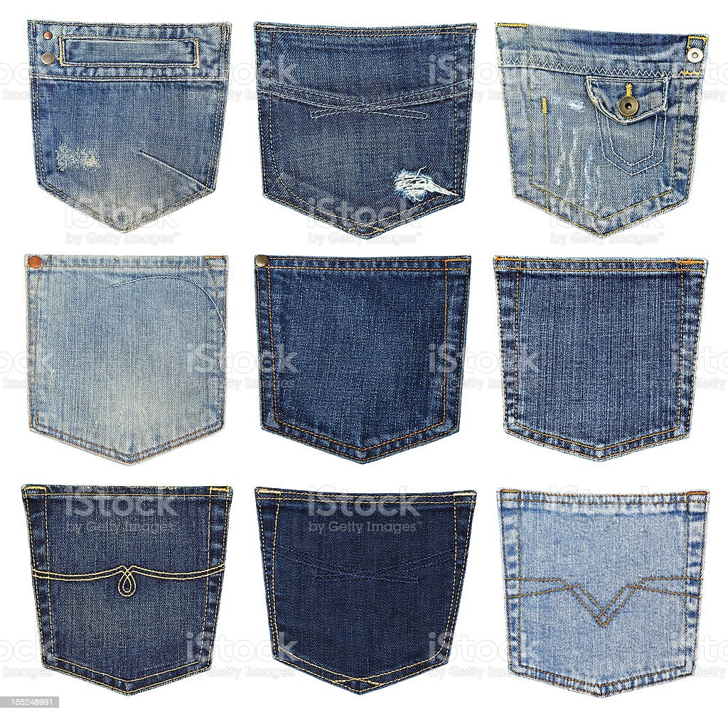 Various types of jean pockets compared to each other stock photo