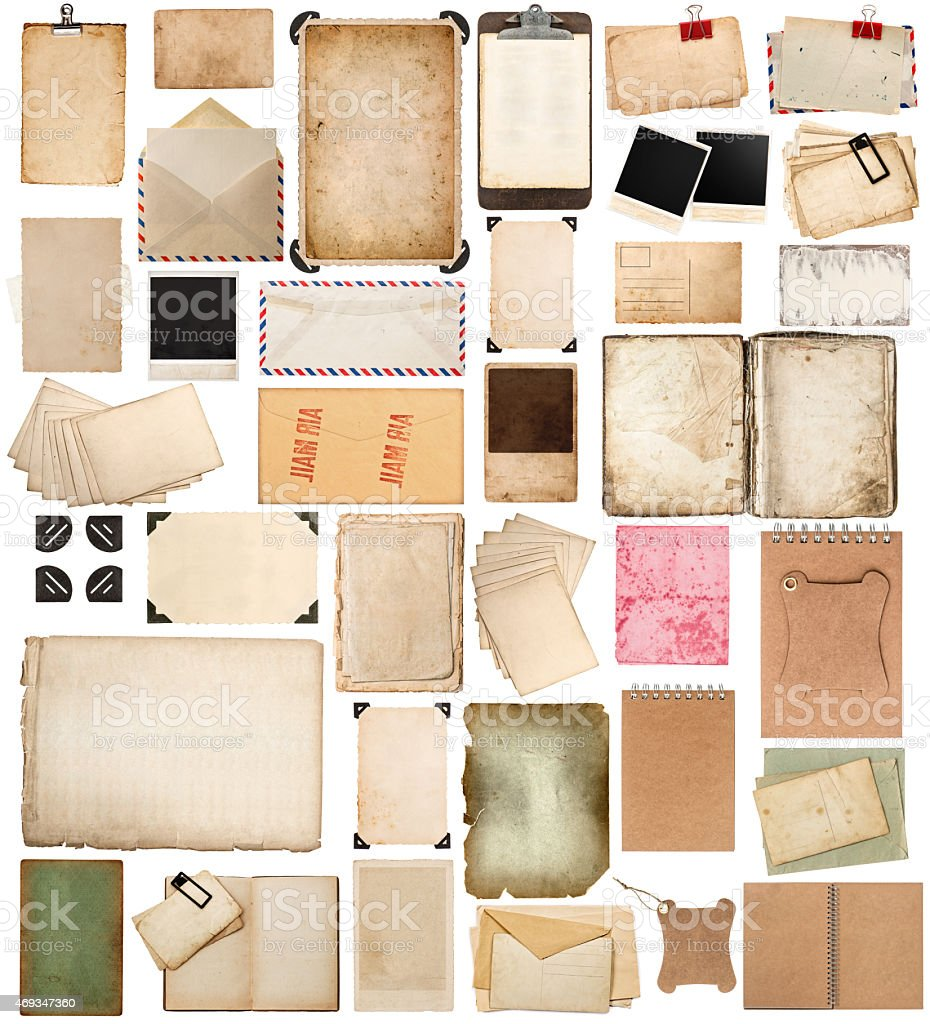 Various types of old ages sheets, books, papers, and cards stock photo