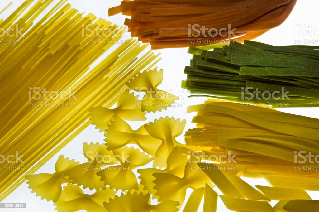Various types of pasta stock photo