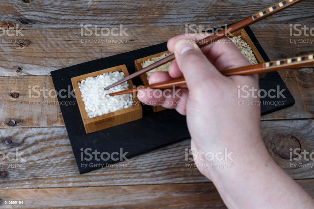 Various types of rice stock photo
