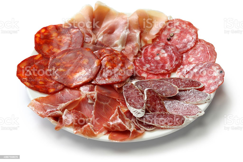 various types of  spanish salami, sausage and ham. stock photo