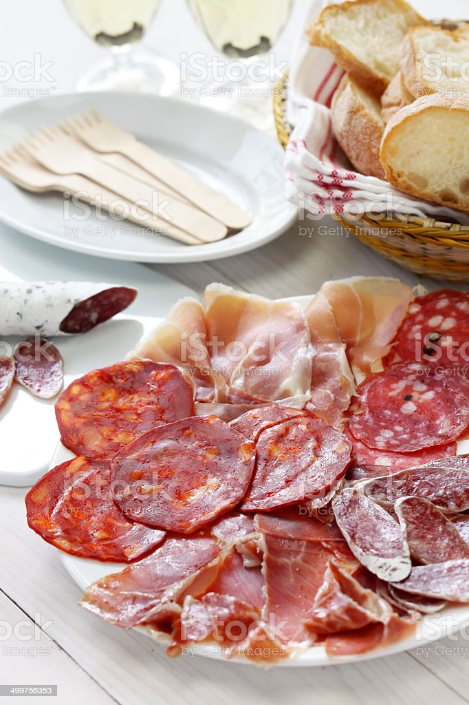 various types of  spanish salami, sausage and ham. stock photo