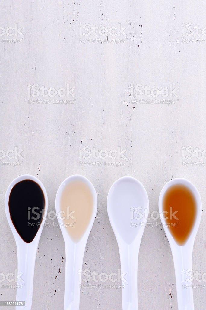 Various types of Vinegar. stock photo