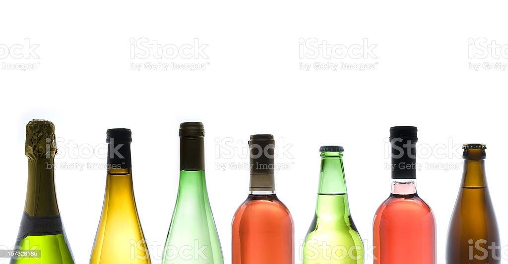 Various Types of Wine bottles on White Background royalty-free stock photo