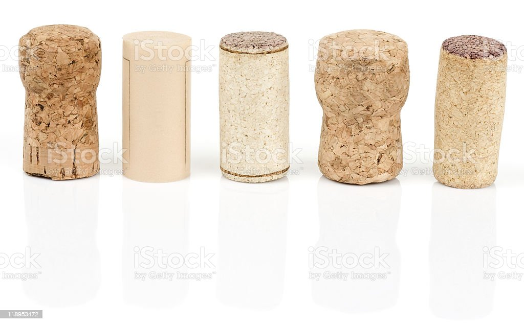 Various types of wine corks stock photo