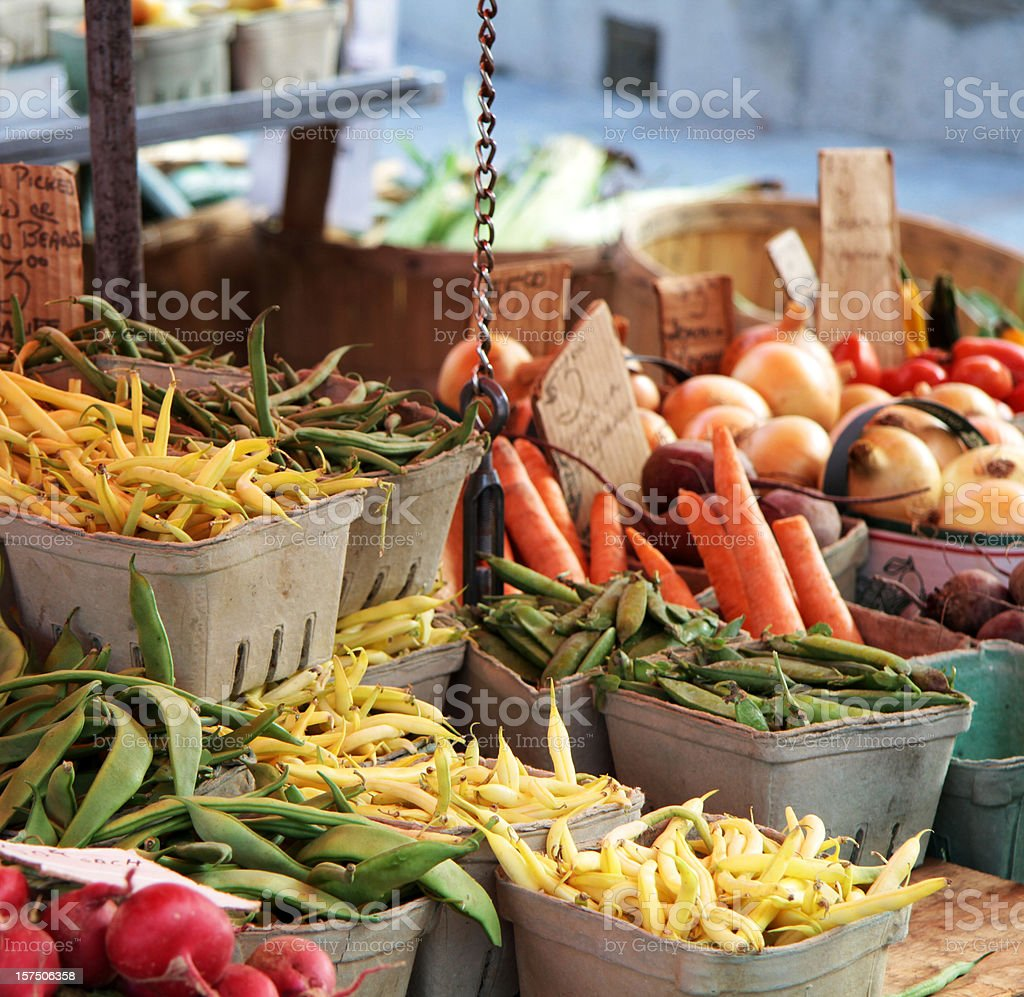 Various vegetables at a market stall stock photo