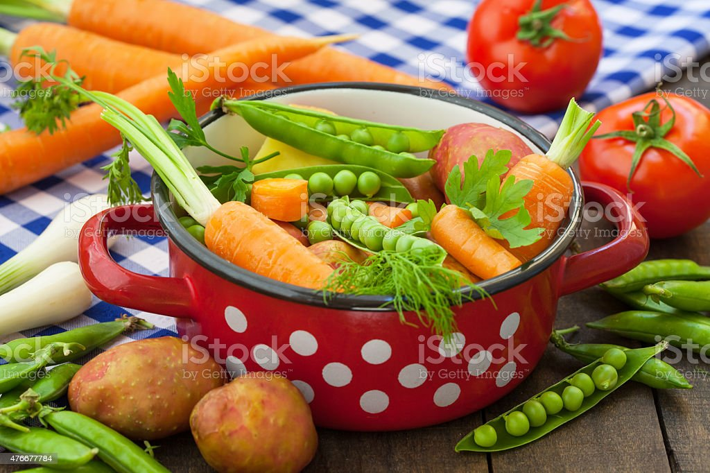 Various Vegetables in the pot stock photo