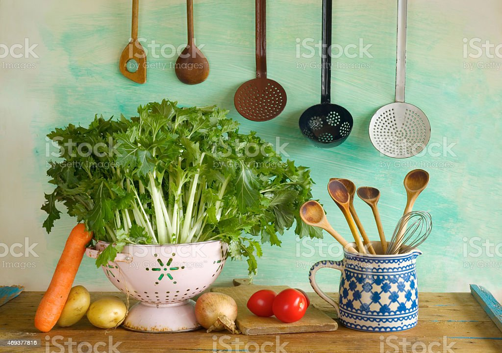 various vegetables kitchen utenslis stock photo