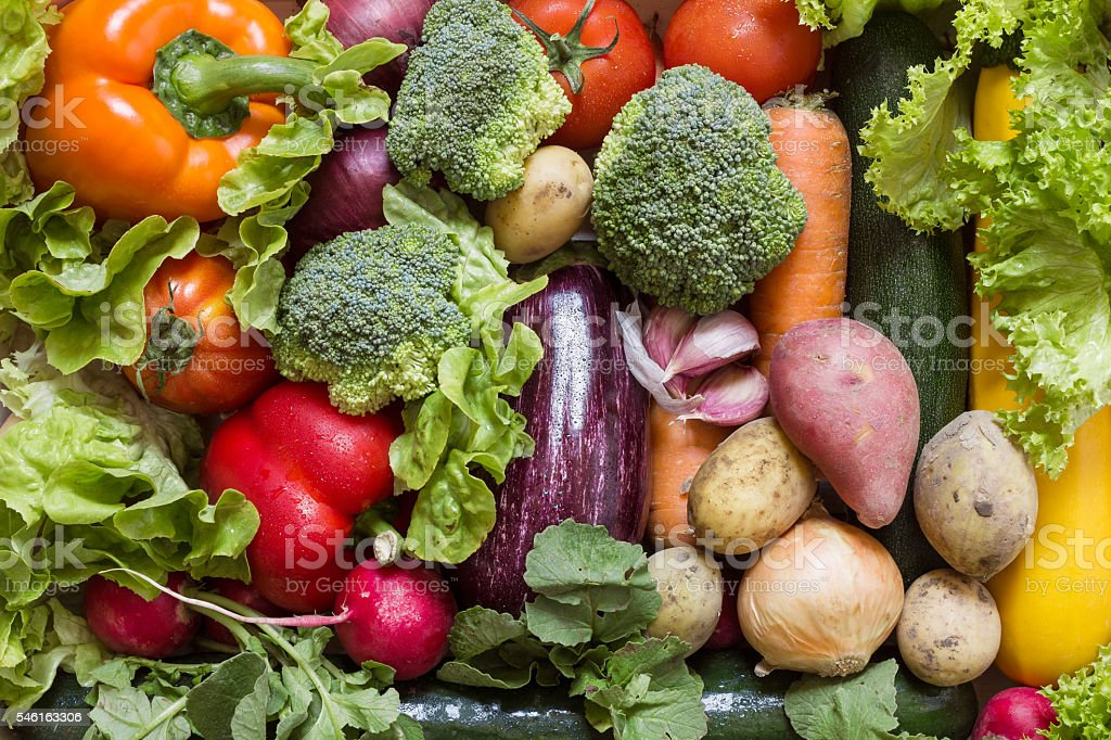 Various vegetables with fresh green lettuce stock photo