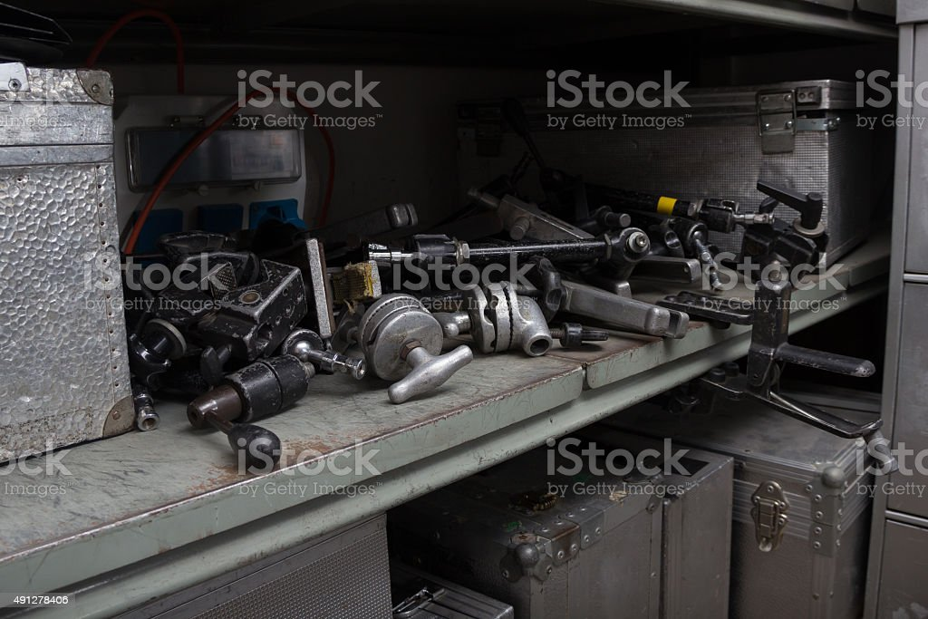 Various video lighting and grip gear stock photo