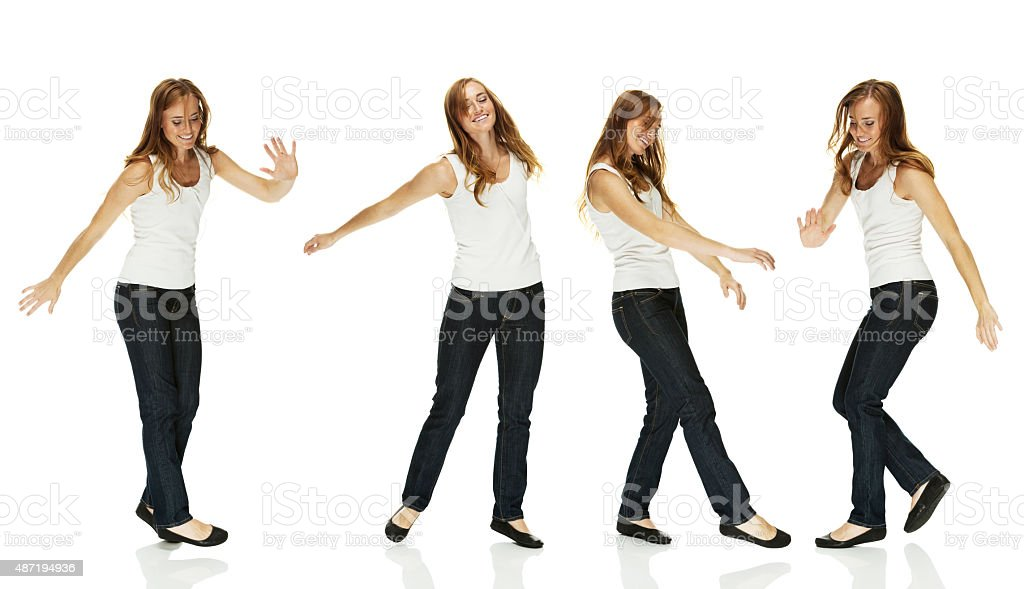 Various view of dancing woman stock photo