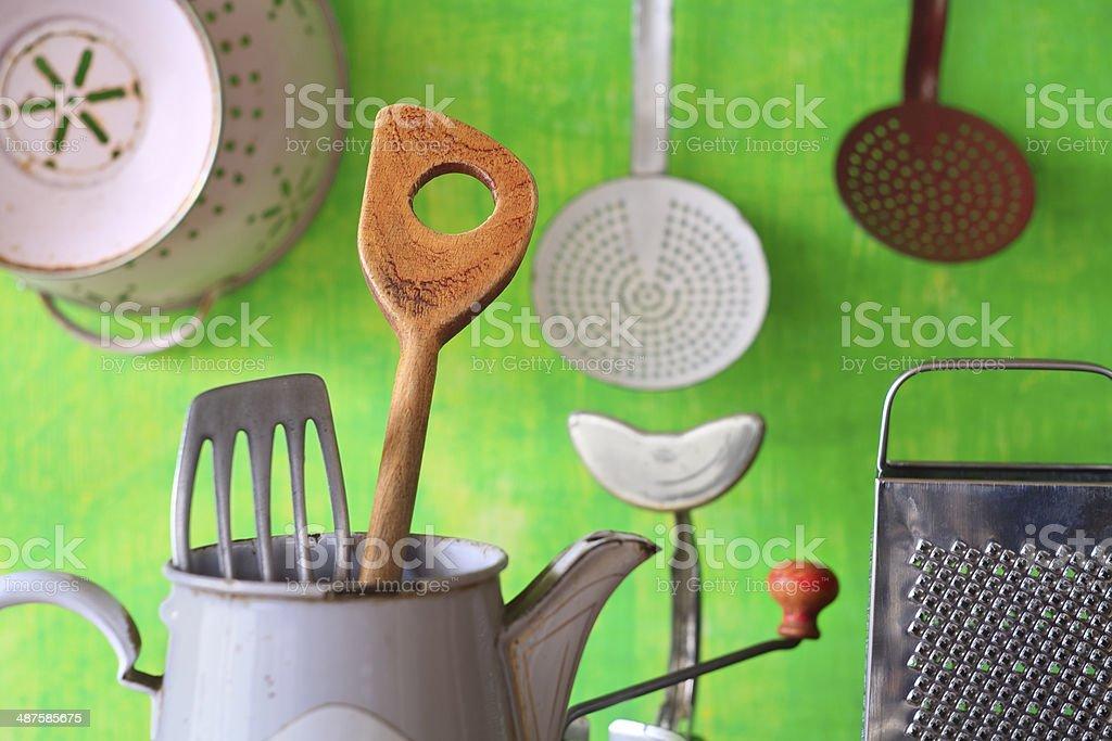 various vintage kitchen utensils stock photo