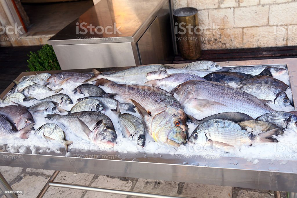 Various white fish exposed in the restaurant royalty-free stock photo
