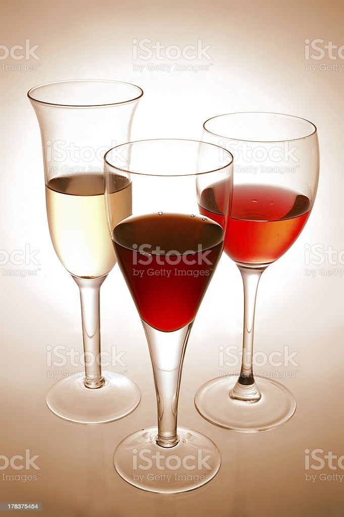 Various wine glasses royalty-free stock photo