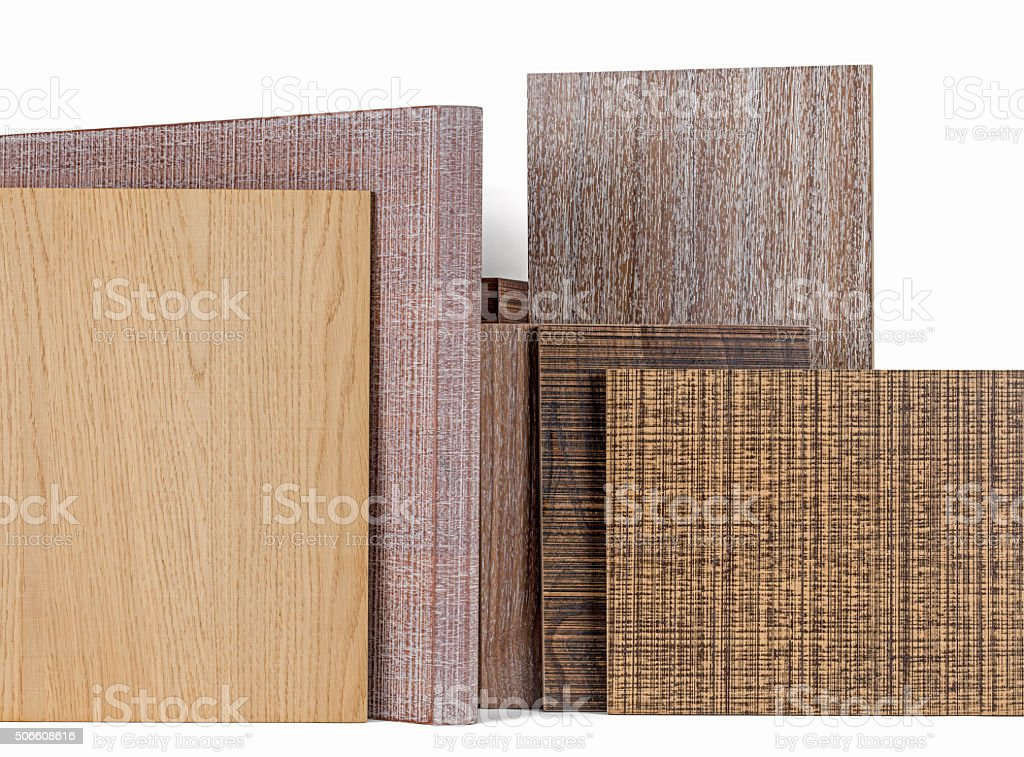 Various wood chipboards stock photo