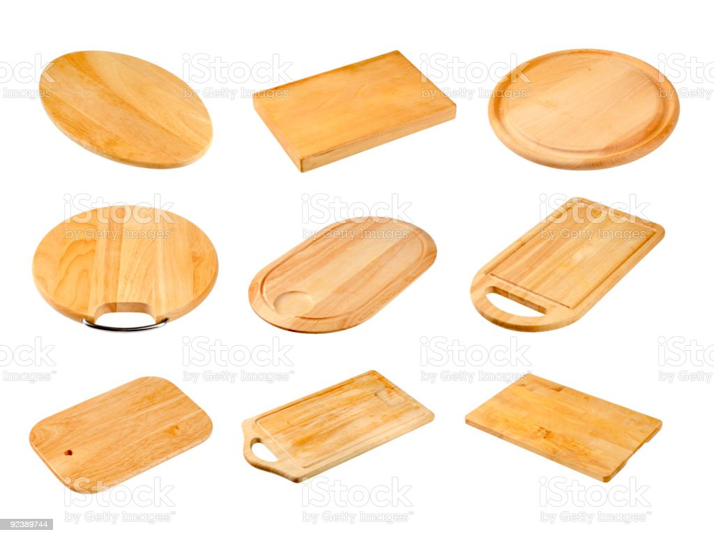 Various wooden cutting boards royalty-free stock photo