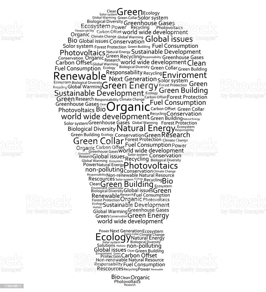 Various words forming a light bulb royalty-free stock photo