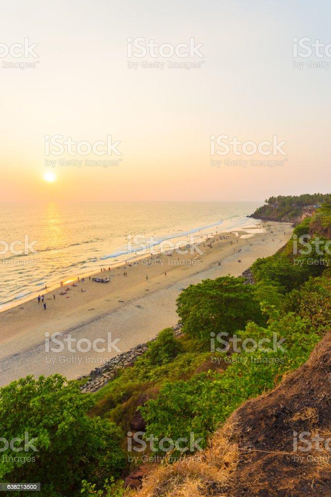 Varkala Beach Cliffs Ocean Sunset Horizon V stock photo