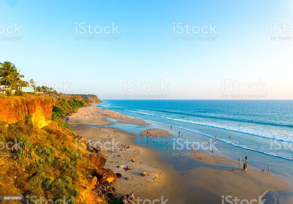 Varkala Beach Cliffs View Ocean Low Tide H stock photo