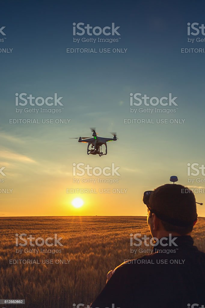 Varna, Bulgaria - July 05 ,2015: Flying drone quadcopter Phantom stock photo
