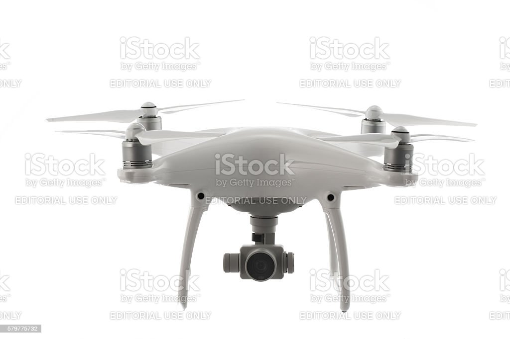Varna, Bulgaria - July 21 ,2016: Flying drone quadcopter Phantom stock photo