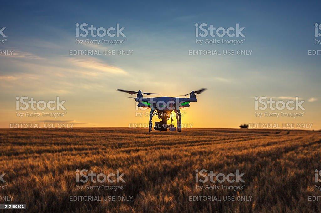 Varna, Bulgaria - June 23 ,2015: Flying drone quadcopter Phantom stock photo