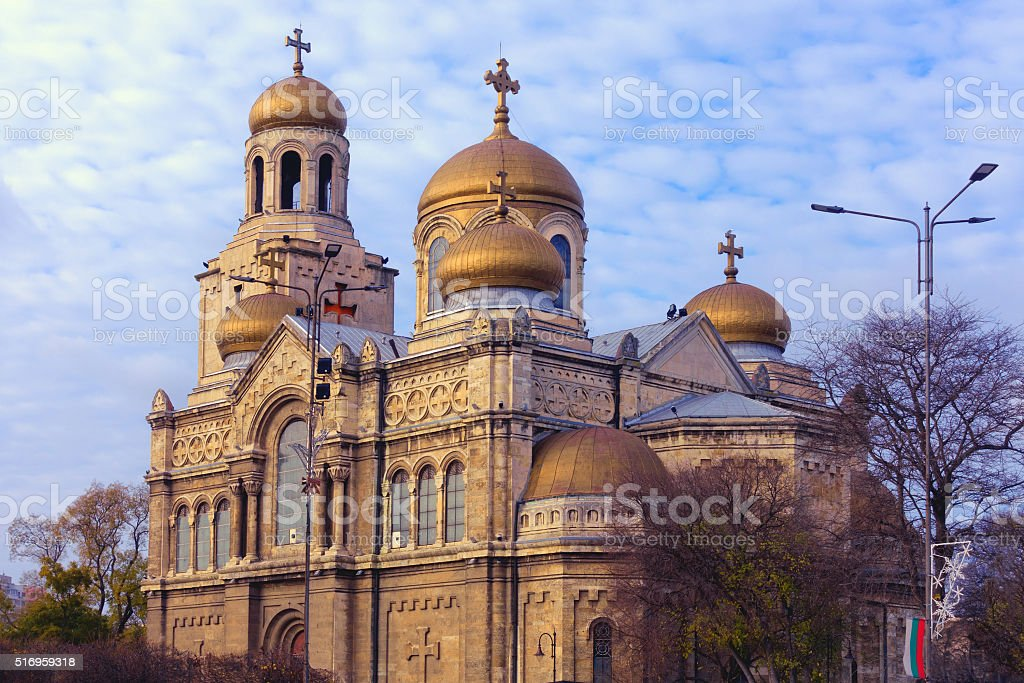 Varna, Bulgaria: Orthodox Cathedral of the Assumption in sunset light stock photo