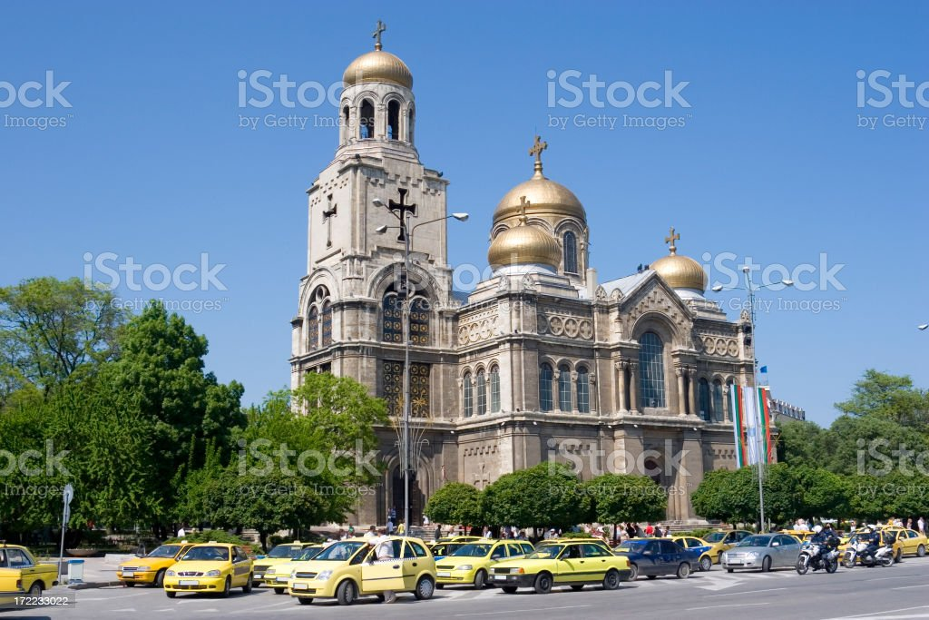 Varna Cathedral and square, Bulgaria stock photo