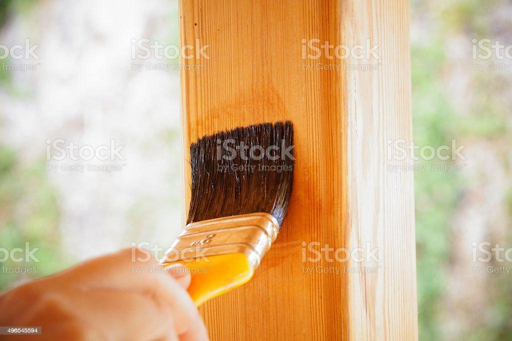 varnish the fence stock photo