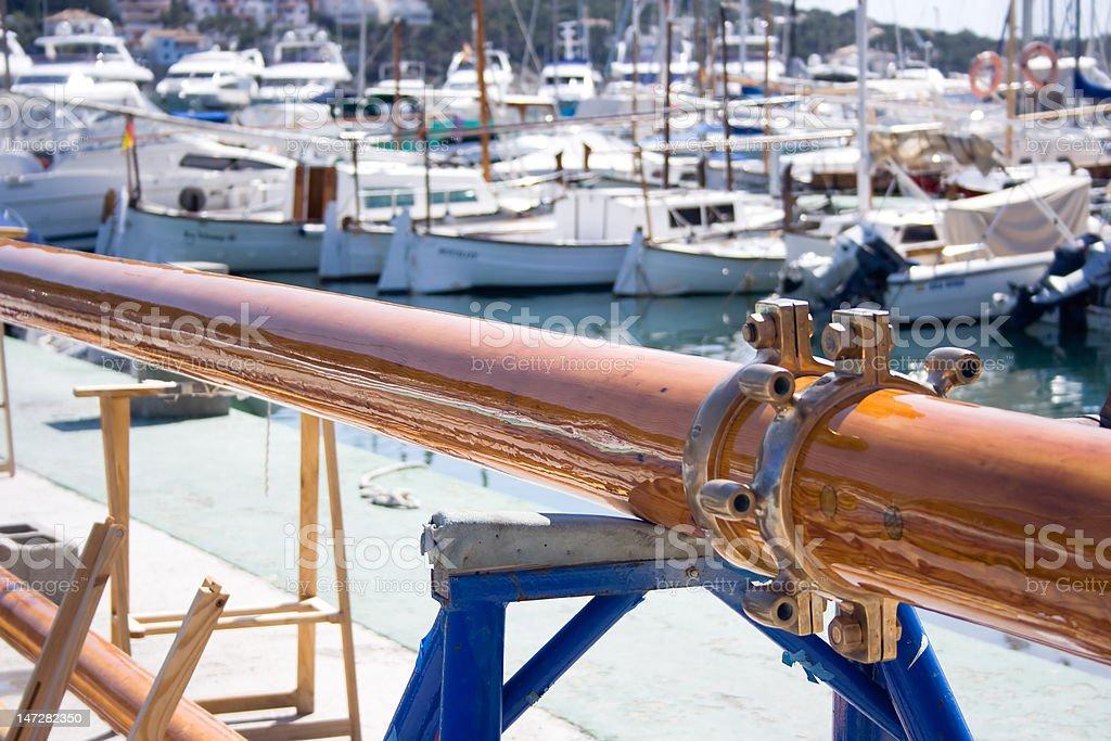 Varnished mast. royalty-free stock photo