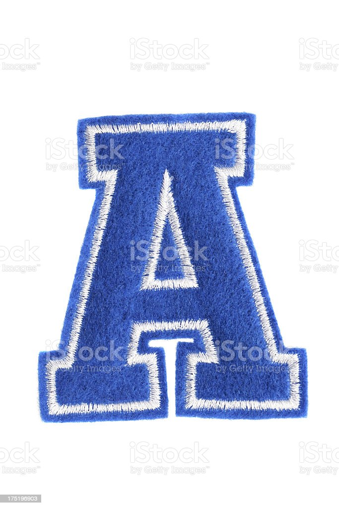 Varsity college letter A stock photo