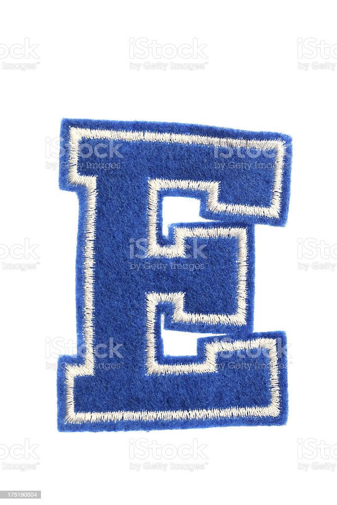 Varsity college letter E stock photo