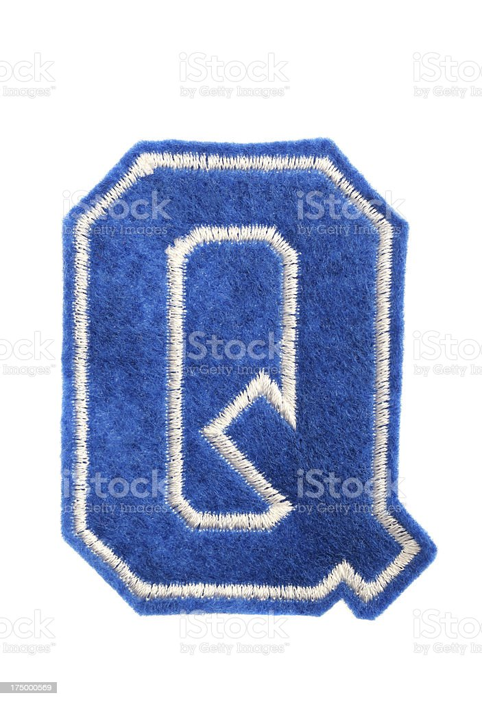Varsity college letter Q royalty-free stock photo