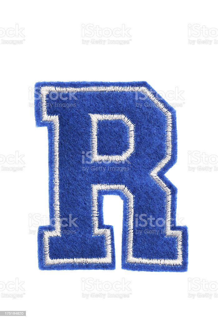 Varsity college letter R stock photo