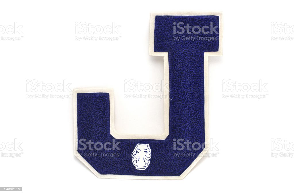 Varsity Letter J With Theatre Patch stock photo