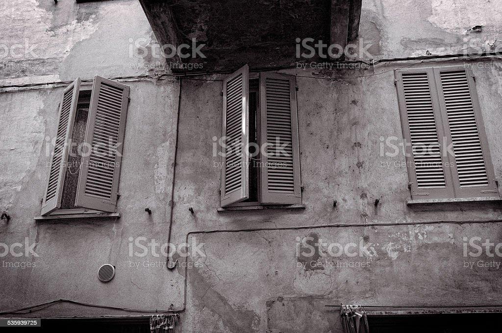 Varzi, old city centre. Black and white photo stock photo