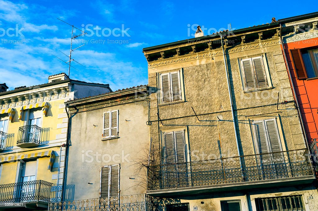 Varzi, Oltrepo Pavese, old houses facade. Color image stock photo