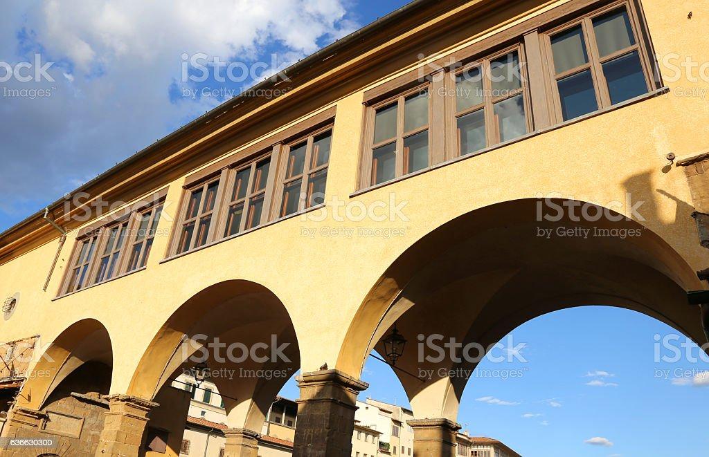 Vasari Corridor over old bridge in Florence Italy stock photo
