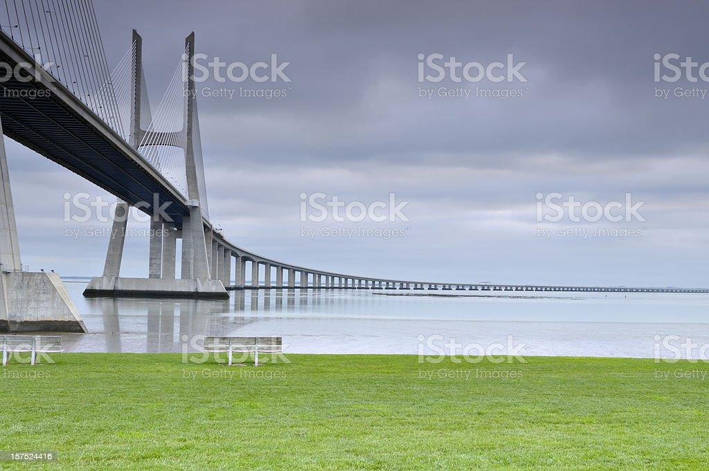 Vasco da Gama bridge in Lisbon royalty-free stock photo